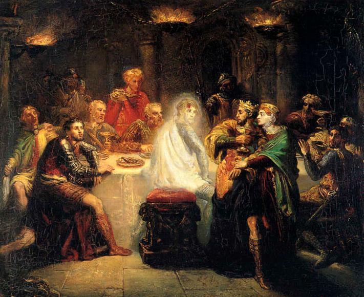 """Théodore Chassériau, """"Macbeth vede lo spettro di Banquo"""", 1854, Musée des Beaux-Arts de Reims"""